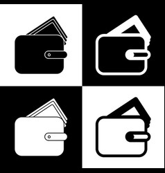 Wallet sign black and white vector
