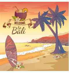 Welcome to bali background vector