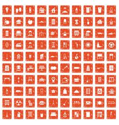 100 cleaning icons set grunge orange vector image