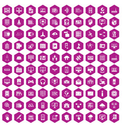 100 database and cloud icons hexagon violet vector image