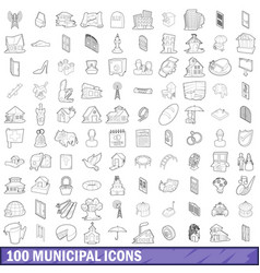 100 municipal icons set outline style vector image
