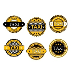 Taxi service emblems and signs vector