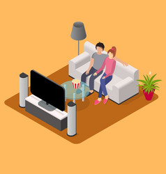 Young loving couple watching tv isometric view vector