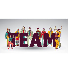 Team group business people and sign vector