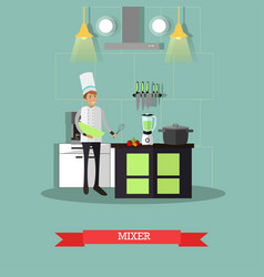 Electric mixer in flat style vector