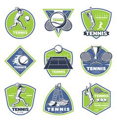 Colored vintage tennis emblems set vector