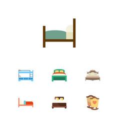 flat bedroom set of bedroom bed mattress and vector image