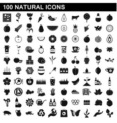 100 natural icons set simple style vector image