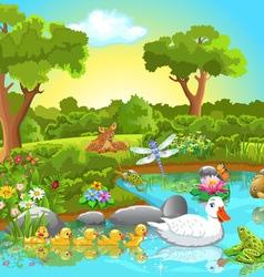ducks lake vector image