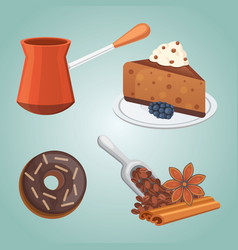 cup of coffee latte and chocolate cake food vector image