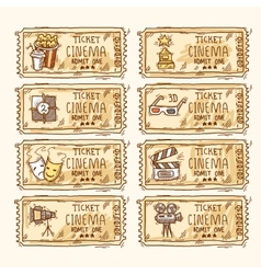 Cinema ticket set vector