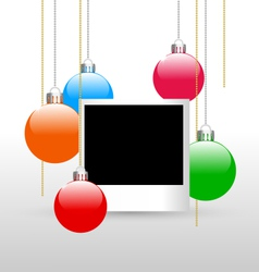 Photoframe with christmas balls vector
