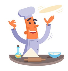 Cartoon chef making pizza dough vector