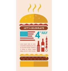 Happy independence day of america card or vector