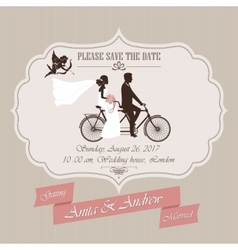 Wedding invitation tandem bicycle vector