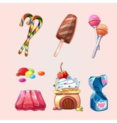 Sweets and cookies set in cartoon style vector