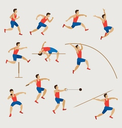 Sports athletes track and field men set vector