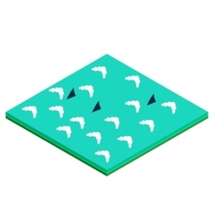 Ocean with sharks isometric tile vector