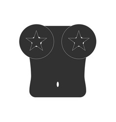 black icon on white background boobs and stars vector image