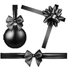 Black isolated christmas ball and bow vector