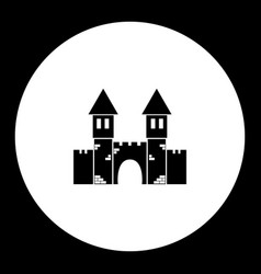 Castle with towers and gate simple black icon vector