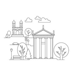 city in linear style - vector image vector image
