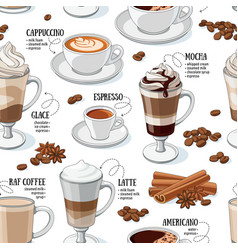 coffee types seamless pattern vector image vector image