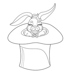 coloring page rabbit hand drawn vintage doodle vector image