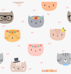 cute seamless pattern with cartoon cats vector image vector image