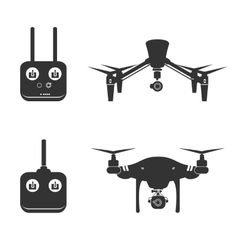 Drone silhouette video aerial fly helicopter vector