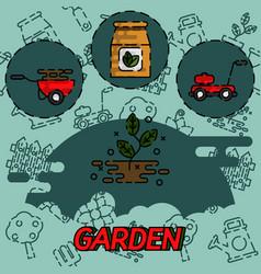 garden flat concept icons vector image