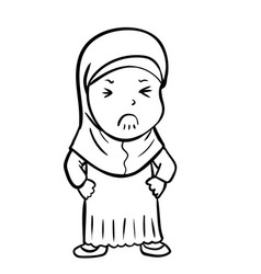 Hand drawing frustrated muslim girl - vector