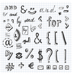 Hand drawn set with social media sign and symbol vector