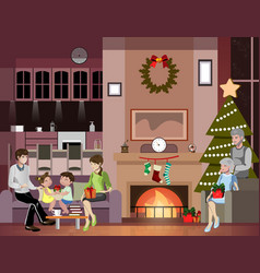happy family celebrating merry christmas vector image vector image