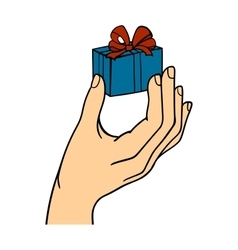 Human hand holding gift box vector image vector image