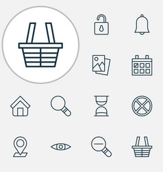 internet icons set collection of calendar zoom vector image vector image