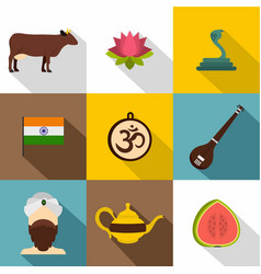 Landmarks of india icon set flat style vector