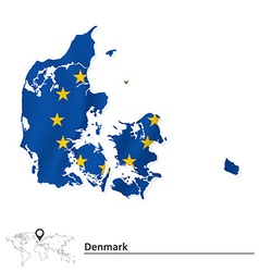Map of denmark with european union flag vector