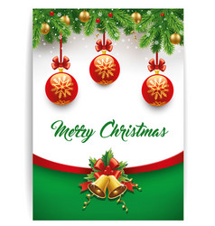 merry christmas background with calligraphy text vector image