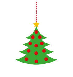 merry christmas pine tree hanging vector image
