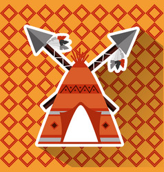 Native american teepee and cross spears weapon vector