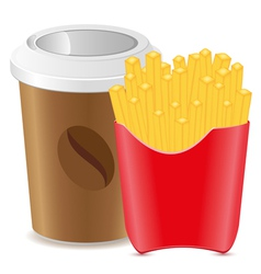 paper cup with coffee and fries potato vector image