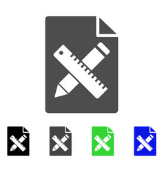 Pencil and ruler design tools page flat icon vector