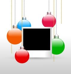 Photoframe with christmas balls vector