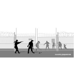Poster zombie apocalypse silhouettes of policeman vector