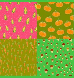 seamless pattern corn pumpkins carrots mushrooms vector image vector image