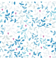 Seamless pattern of blue branches and pink hearts vector
