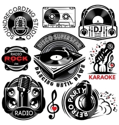 Set of retro badges templat for karaoke disco vector