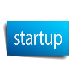 startup blue paper sign on white background vector image vector image