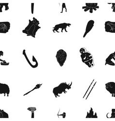 Stone age pattern icons in black style big vector